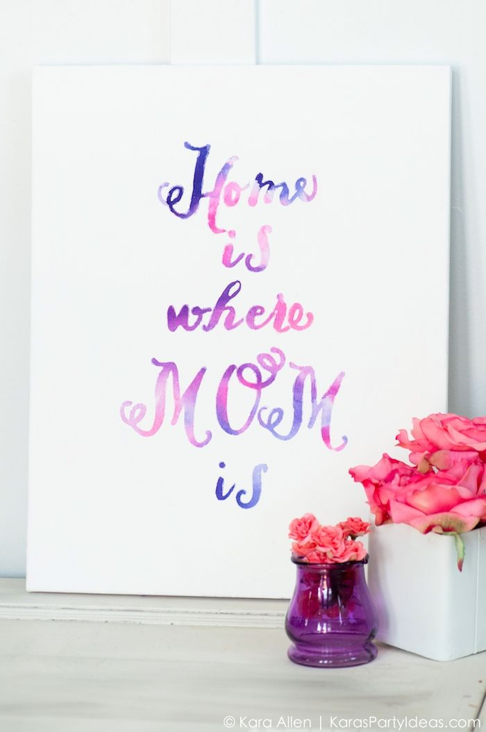 Celebrate Mom DIY Watercolor Mothers Day Gift Canvas Tutorial 700x1054