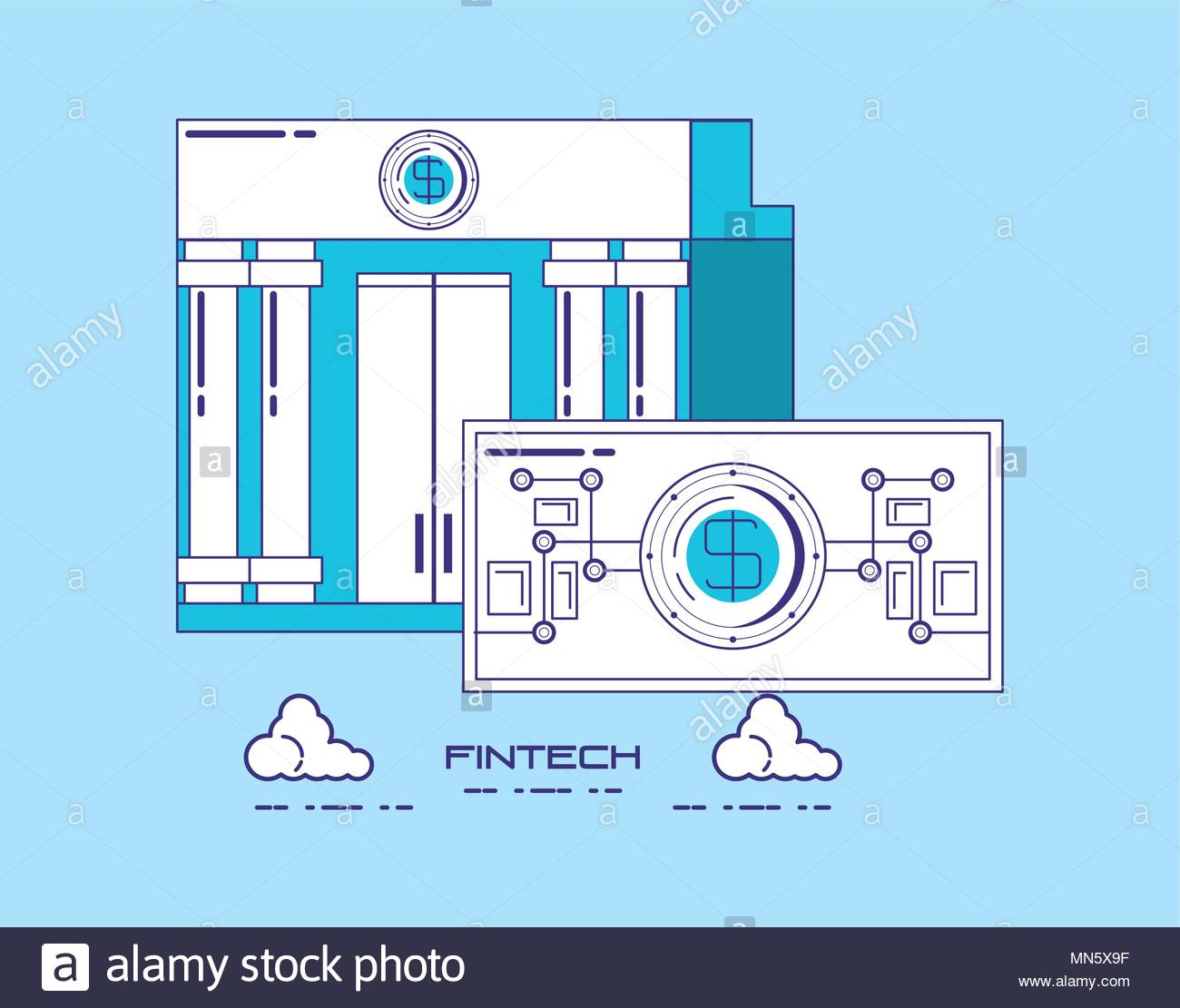 financial technology concept with bank building and money bill 1300x1111