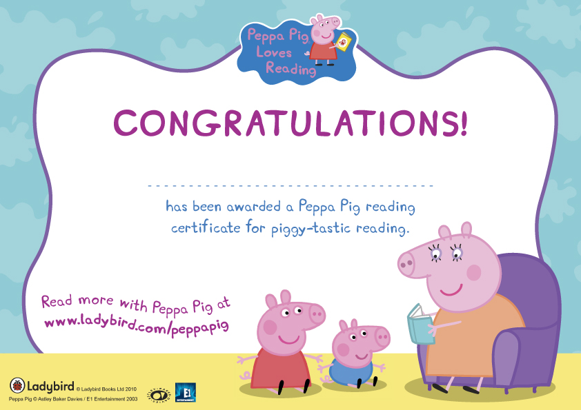 peppa pig wallpaper Peppa Pig Reading Certificate 842x595