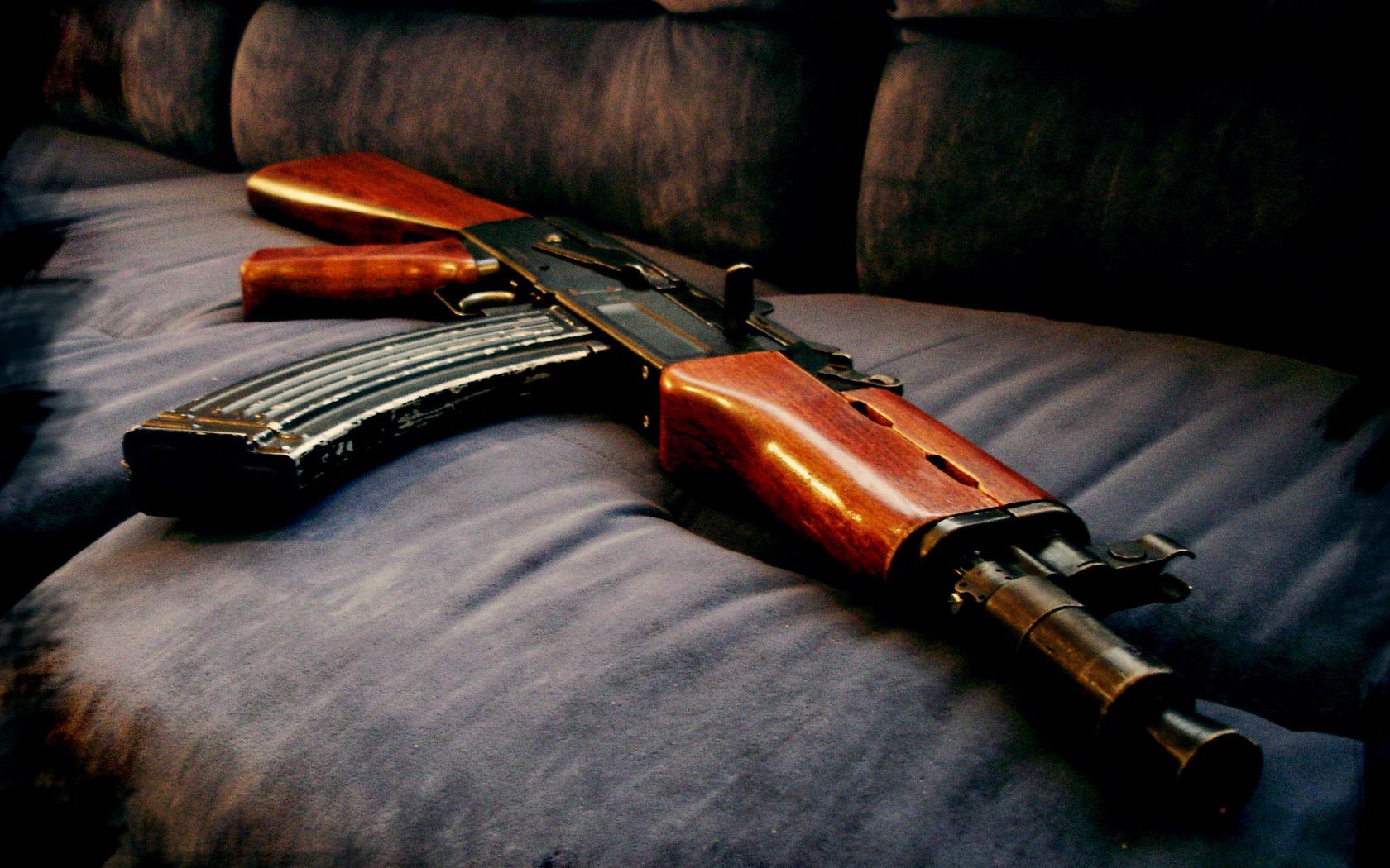 AK 47 ak 47 black gray gun military 1680x1050