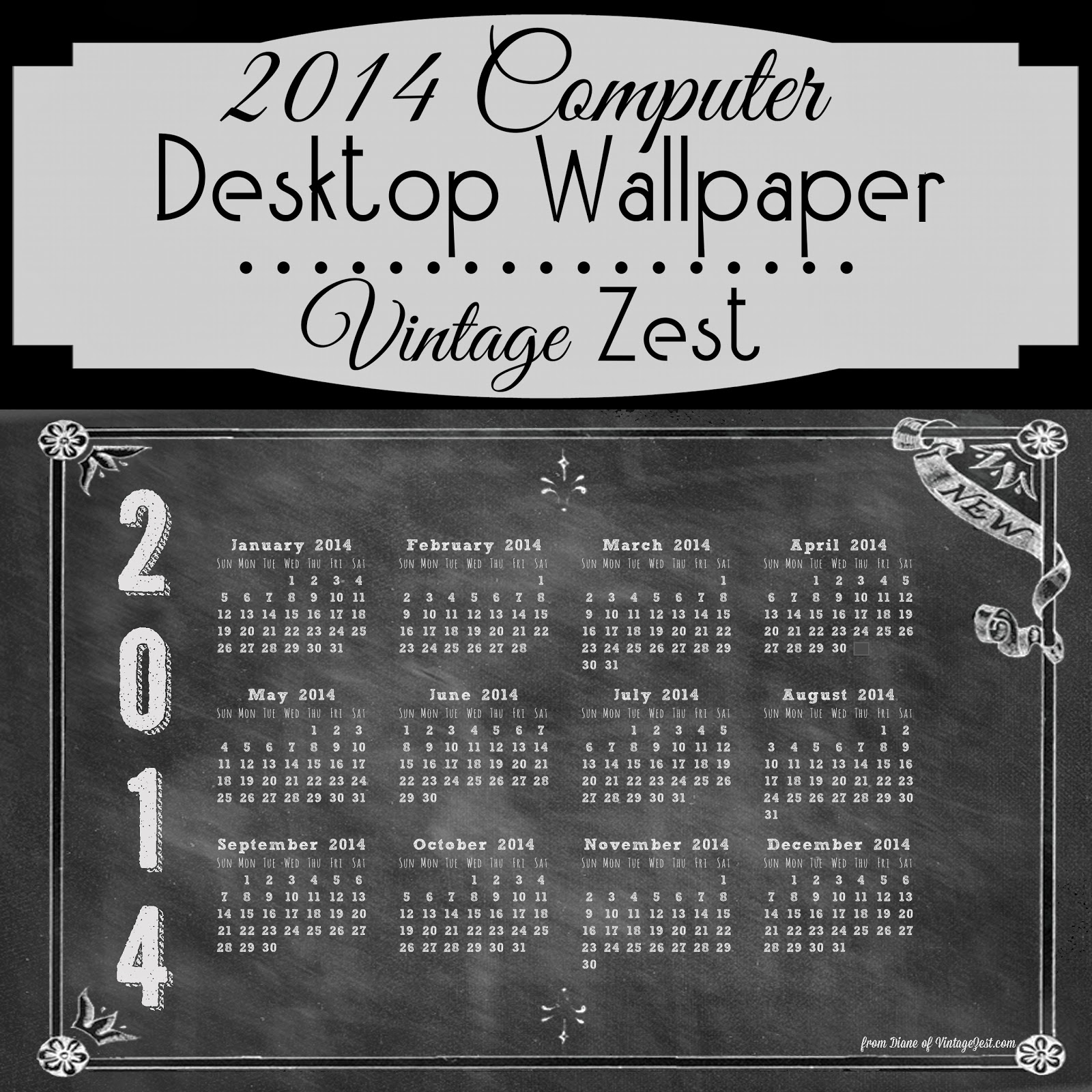 2014 Computer Desktop Wallpaper Download   A Chalkboard Calendar 1600x1600