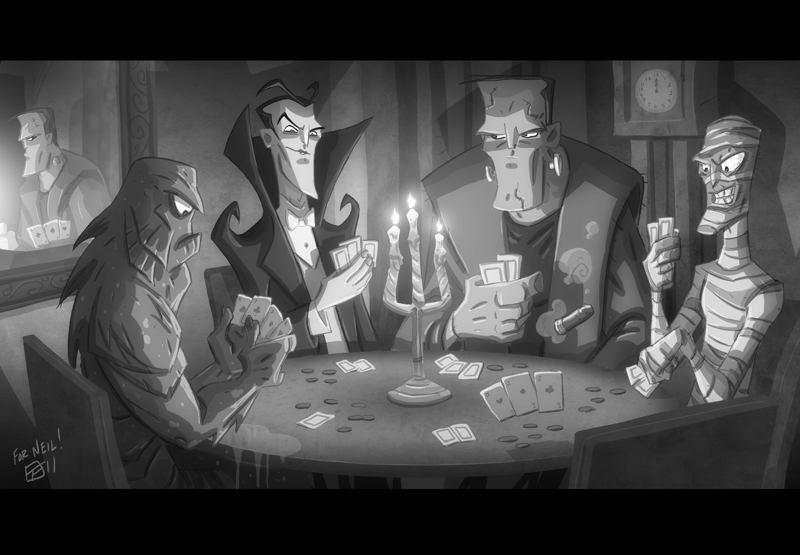 classic monsters playing poker The piece is simply called Monsters 800x555