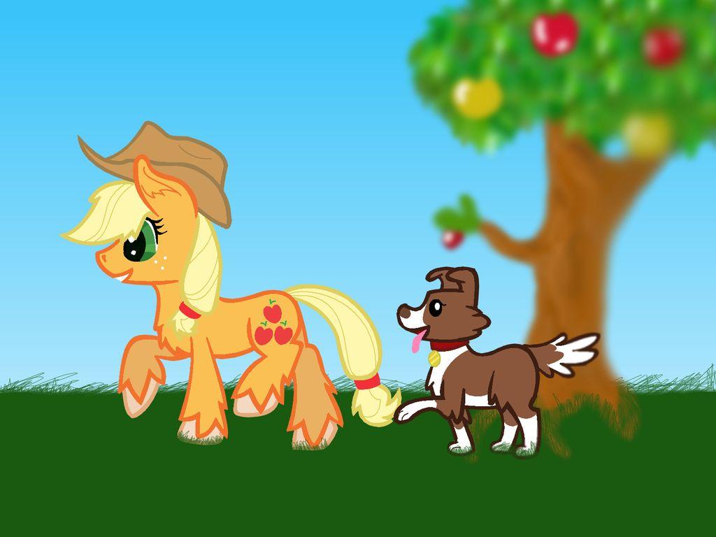 Background AppleJack and Winona by Nut Kase the pony 1024x768