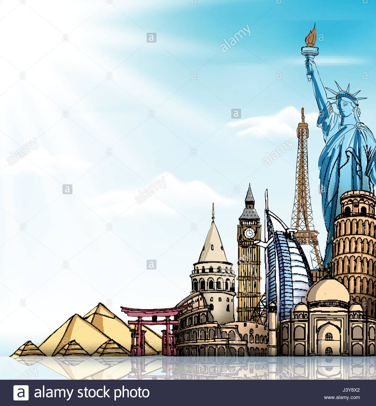 Travel Vector Background with Famous World Landmarks and Sketch 1288x1390