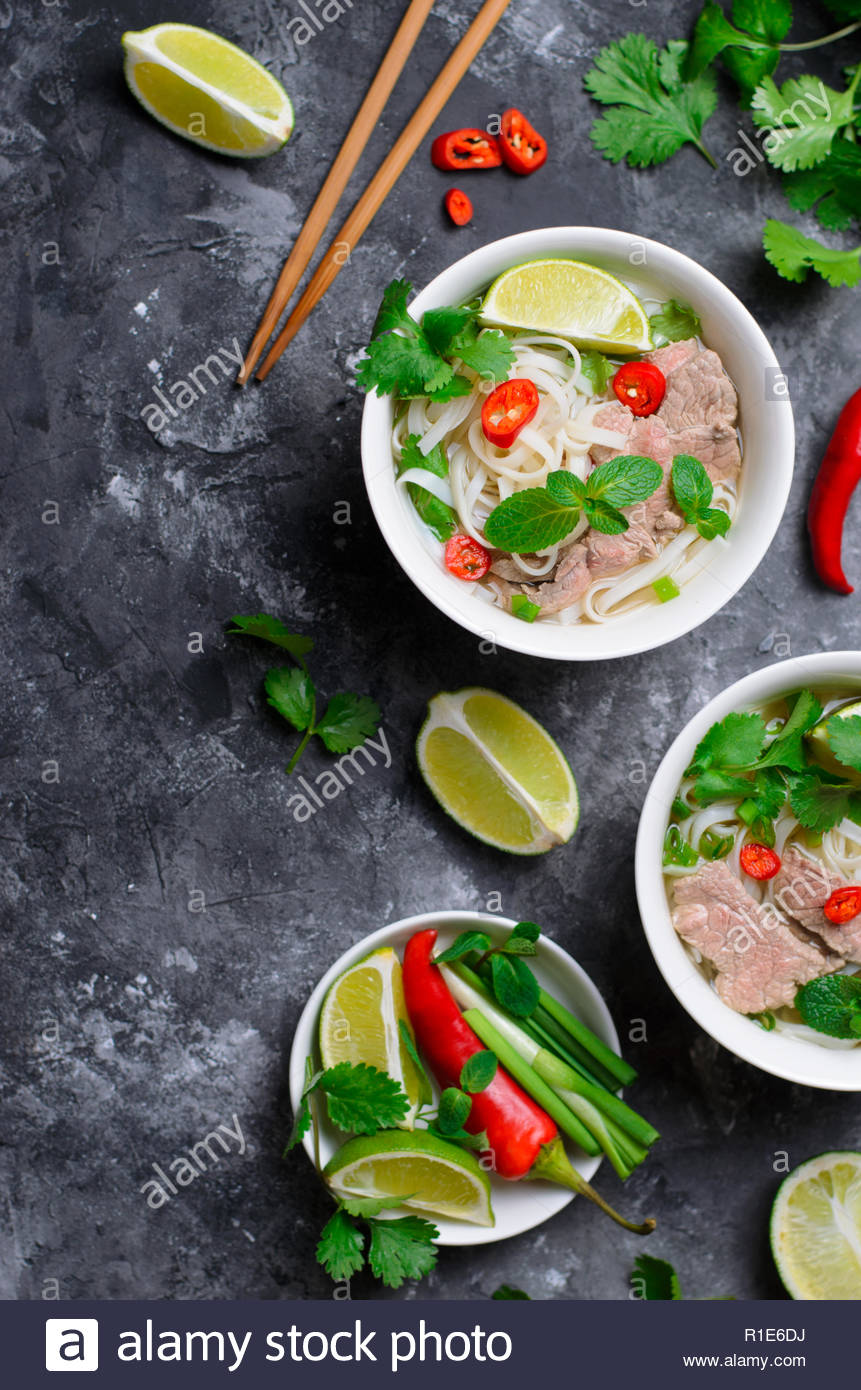 Traditional Vietnamese Soup Pho Bo with Rice Noodles Beef and 861x1390