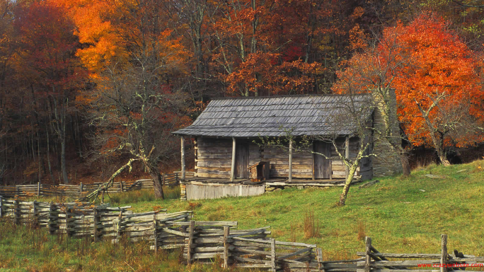 Autumn Fall Color Kentucky Country Log Cabin Wallpaper brightly fall 1600x900