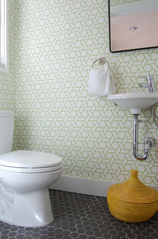 with Wall mounted sink High ceiling interior wallpaper Powder room 508x768