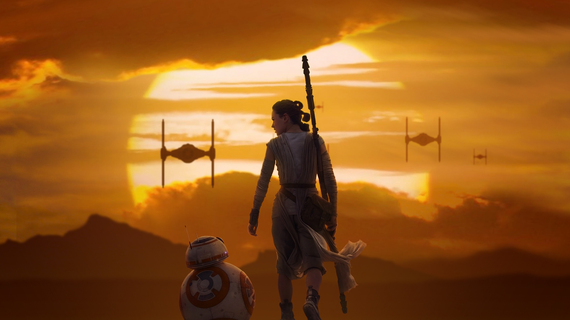 Rey BB 8 Star Wars The Force Awakens 1920x1080