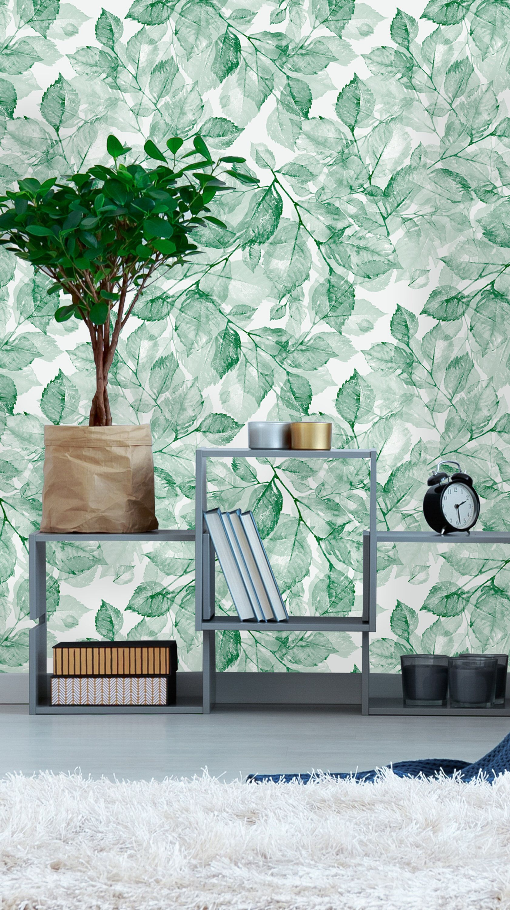 Removable Wallpaper Self Adhesive Wallpaper Green Watercolor 1682x3000