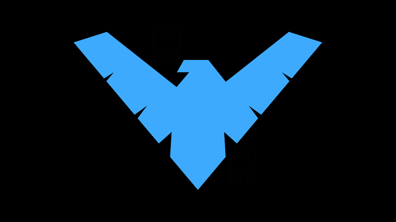 nightwing animated symbol wp by morganrlewis fan art wallpaper movies 1366x768