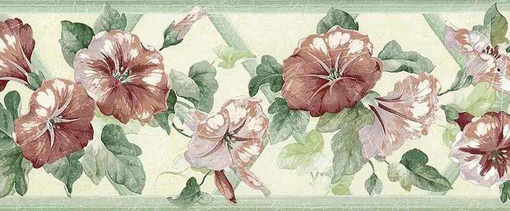 MORNING GLORY FLORAL Lattice Wallpaper Border Rose Green UK Brewster 736x305