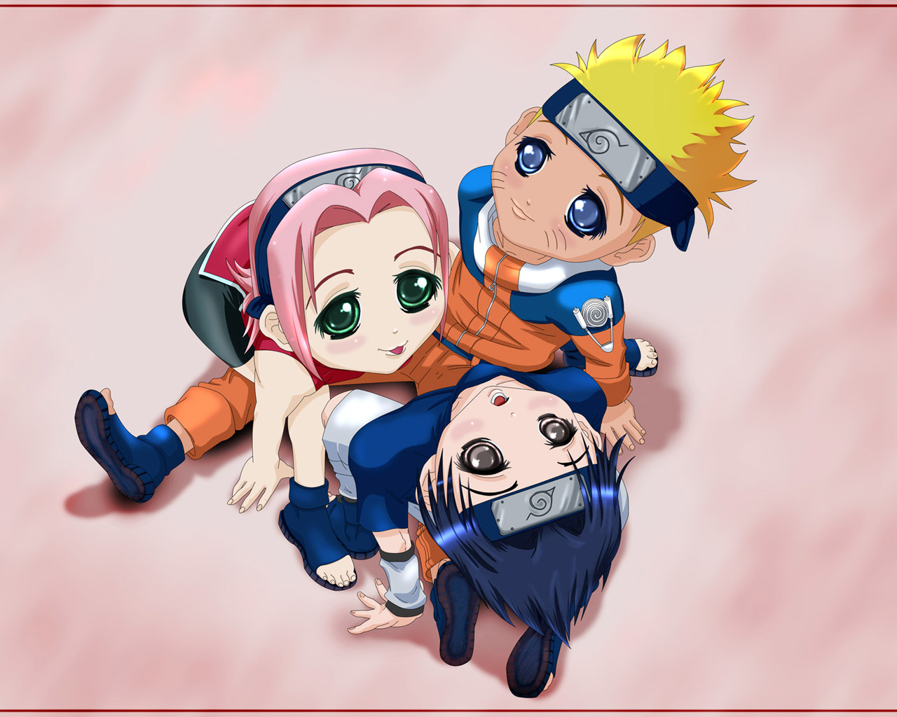 Naruto Uzumaki Gallery Naruto Sakura and Sasuke chibi wallpaper 1280x1024
