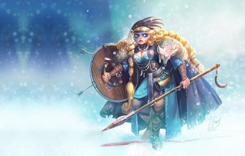 Wallpaper girl art Viking Sighild Jrmie Fleury images for 1332x850