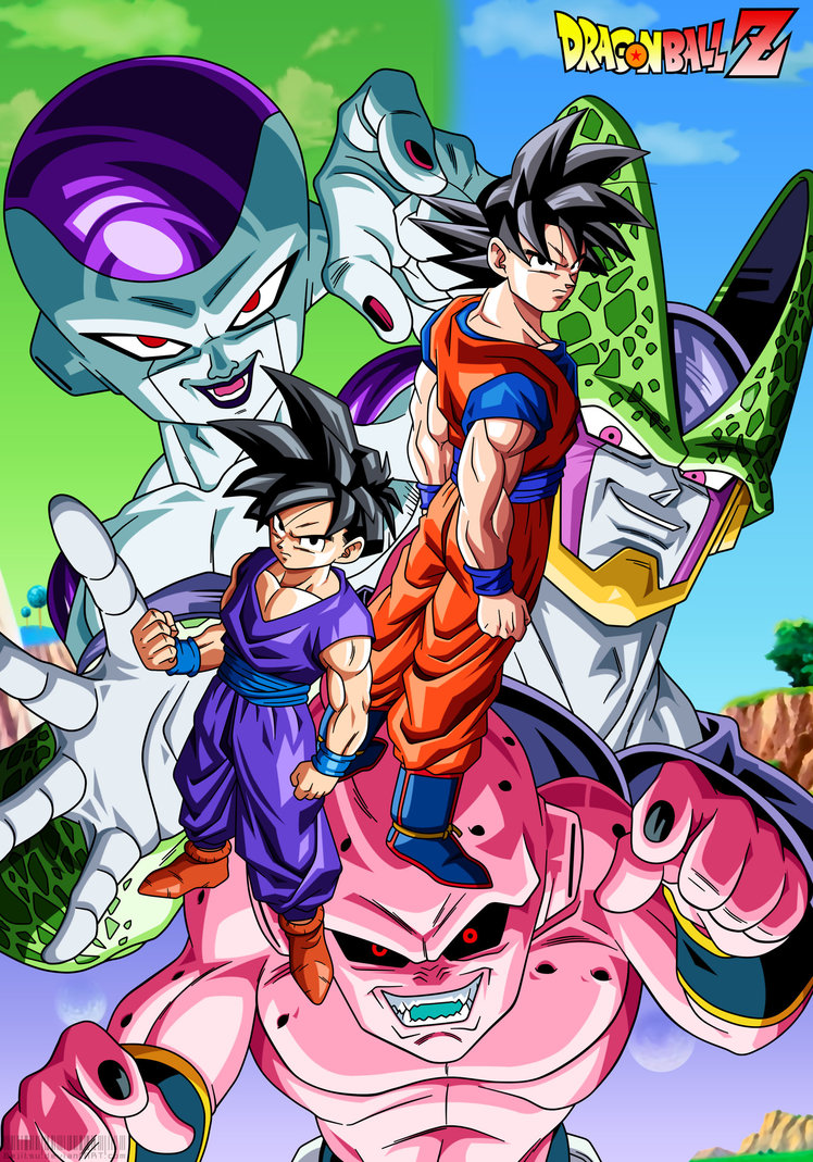 DBZ Goku and Gohan VS Villains by Bejitsu 748x1069