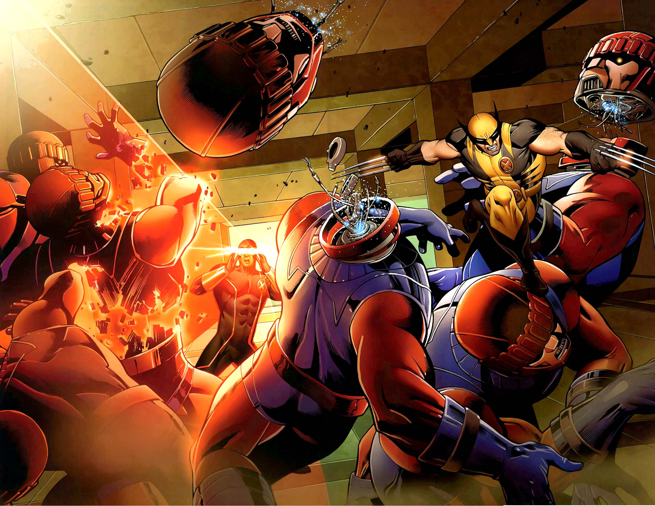Cyclops and Wolverine VS Sentinels Comicnewbies 2558x1976