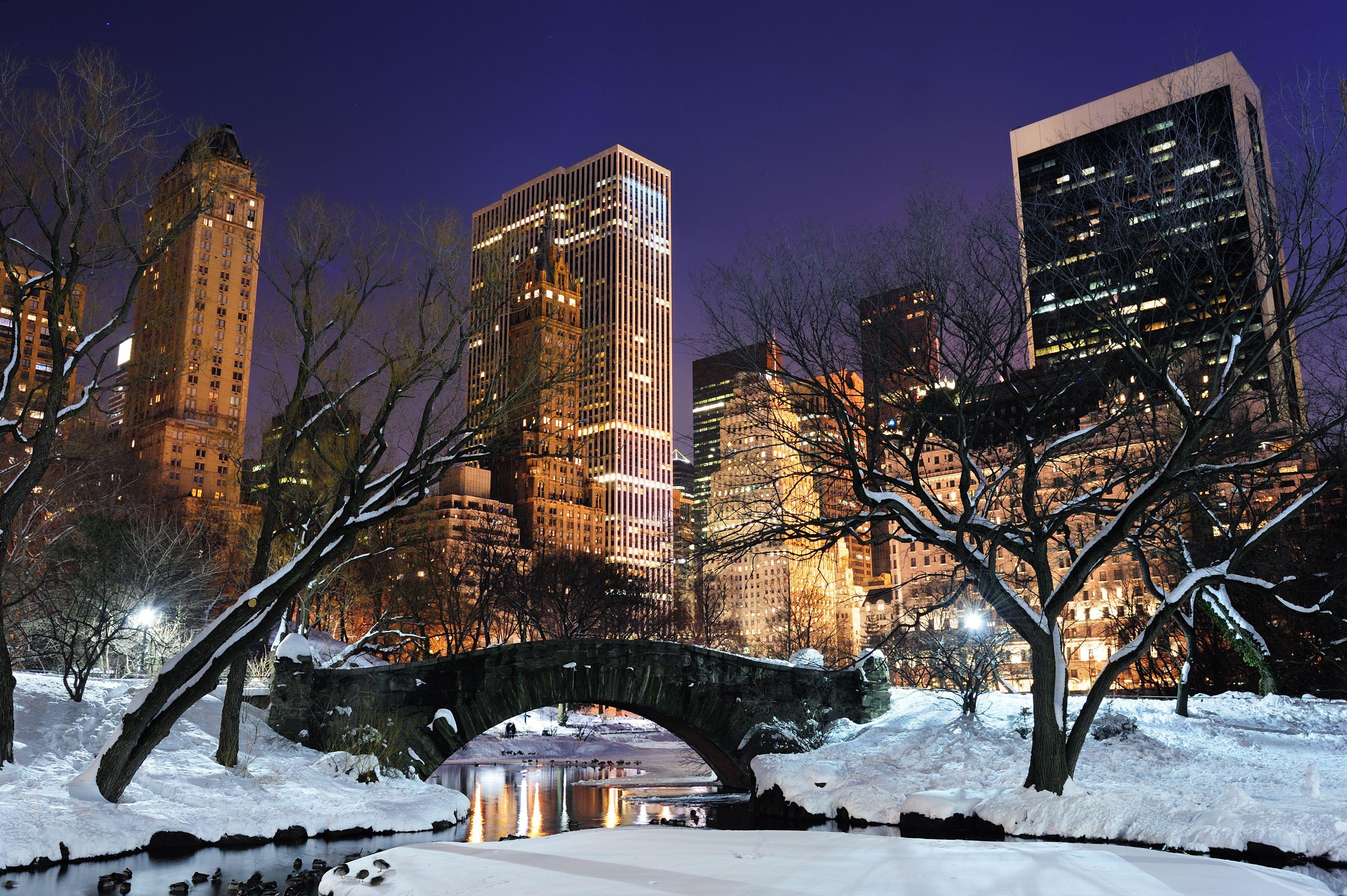 New York Winter Night Desktop Wallpaper Hd 3440x2289px Endroits 3440x2289