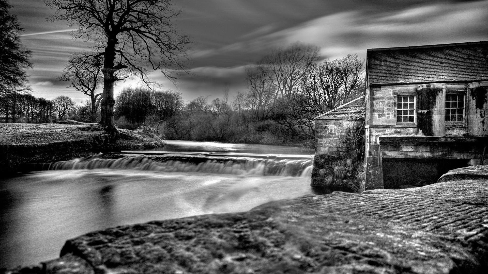 Water black and white landscapes nature dam house wallpaper 41399