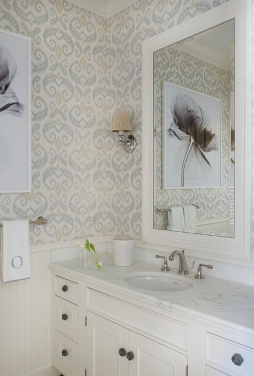 Abstract Wallpaper in Small Beach Bathroom Style   Home Design Ideas 510x756