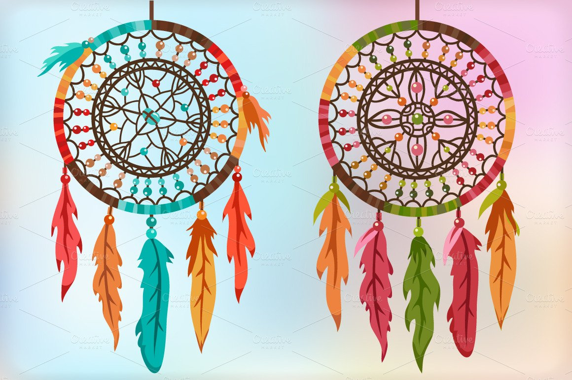 Wolf Dream Catchers Drawings Colorful Dream Catcher...