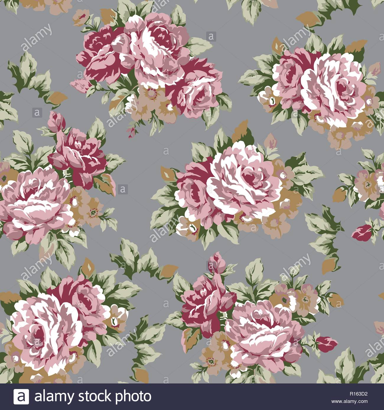 Shabby chic or granny chic vintage chintz roses seamless pattern 1300x1390