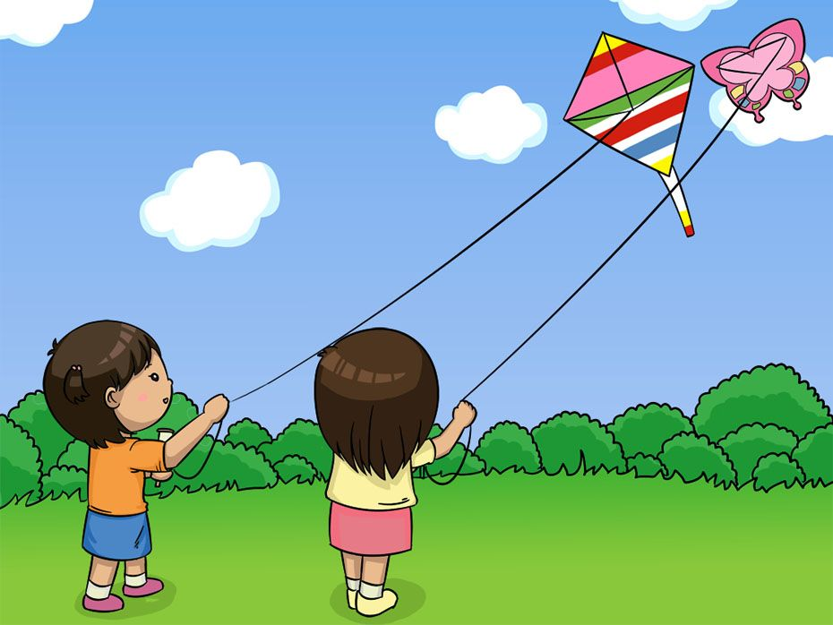 pictures of children flying kites Lisa and Rina are flying kites 930x698
