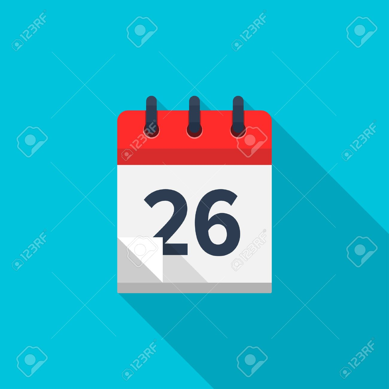 Flat Calendar Icon Date And Time Background Number 26 Royalty 1300x1300