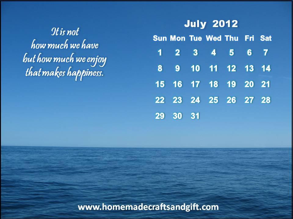 2016 Calendars Bookmarks Cards 7 July 2012 Calendar wallpaper 960x720