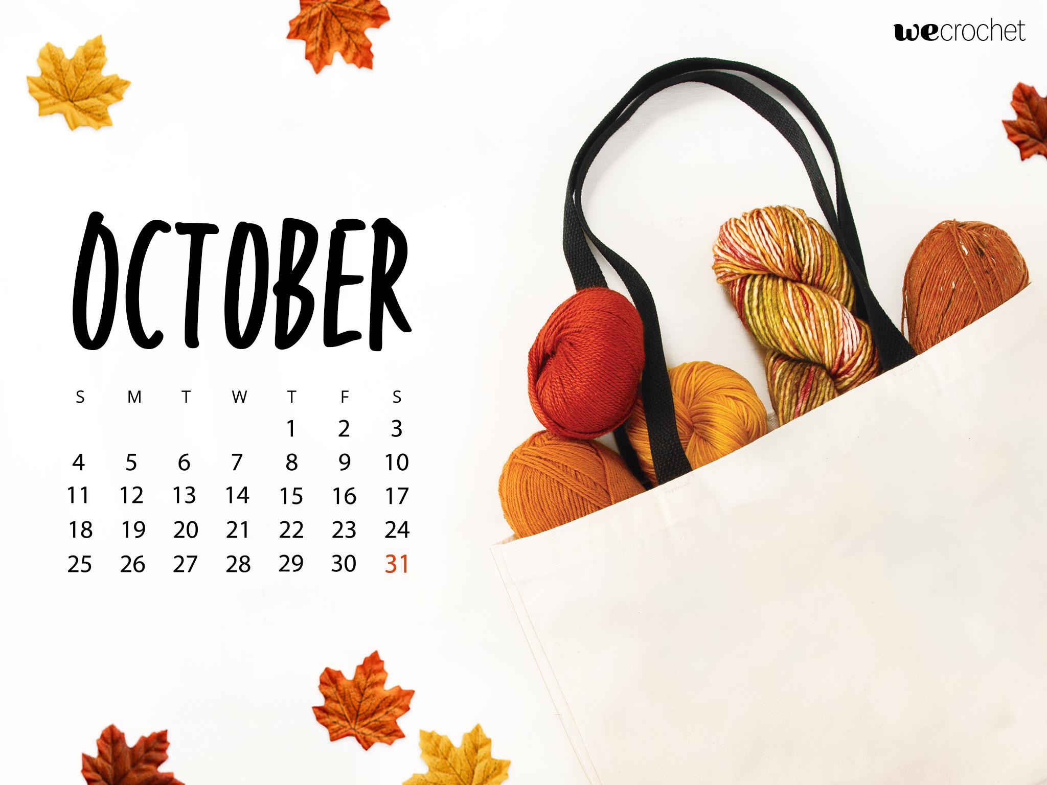 FREE DOWNLOAD OCTOBER 2020 CALENDAR WALLPAPER   WeCrochet Staff Blog 2048x1536