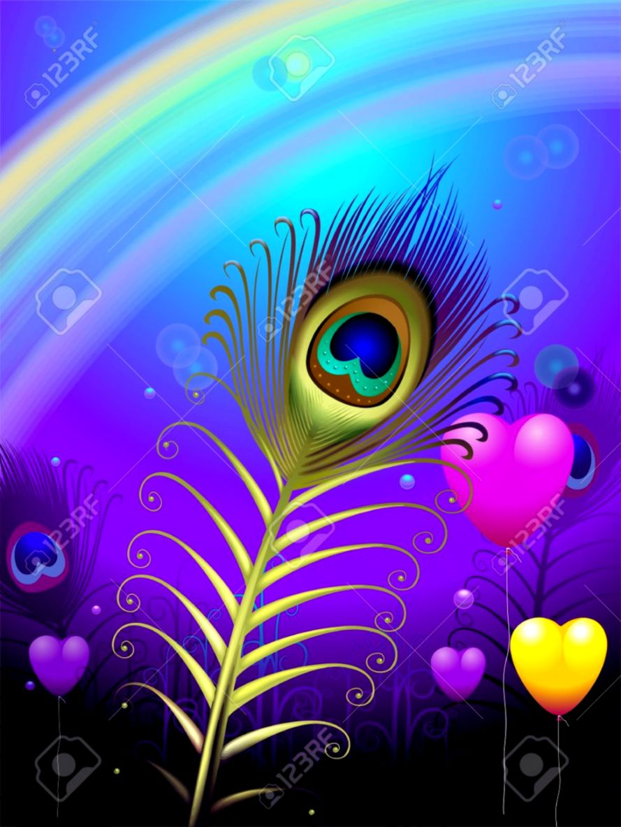 Rainbow Peacock Feathers Background Wallpapers Point 889x1183