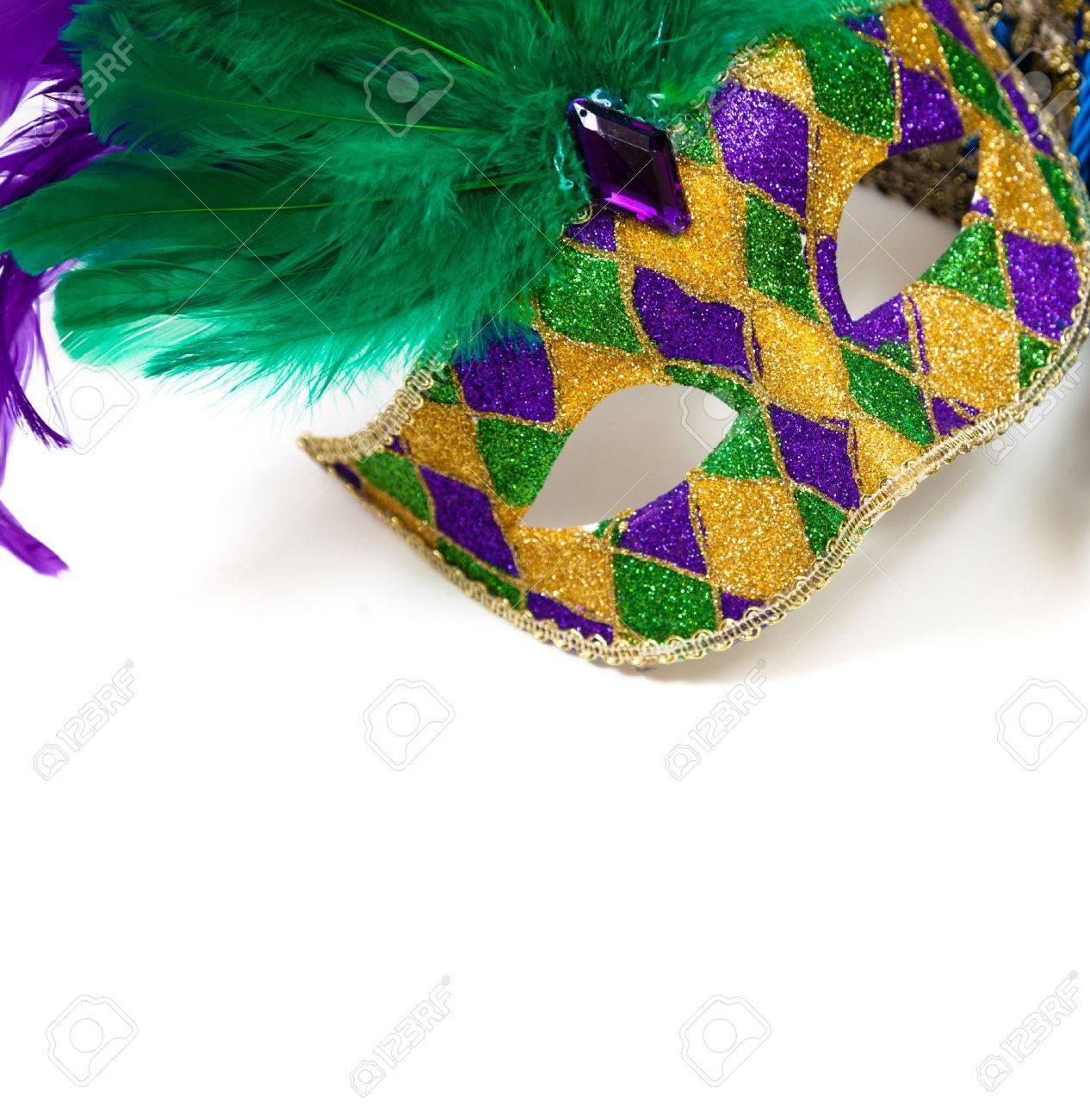 A Glittery Mardi Gras Mask On A White Background With Copyspace 1266x1300