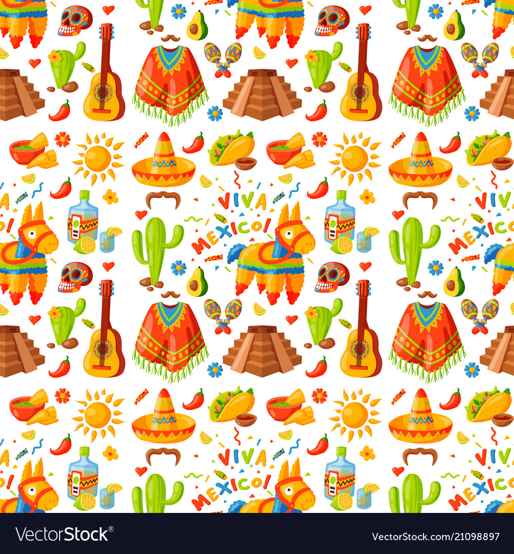 Mexico seamless pattern background Royalty Vector Image 1000x1079