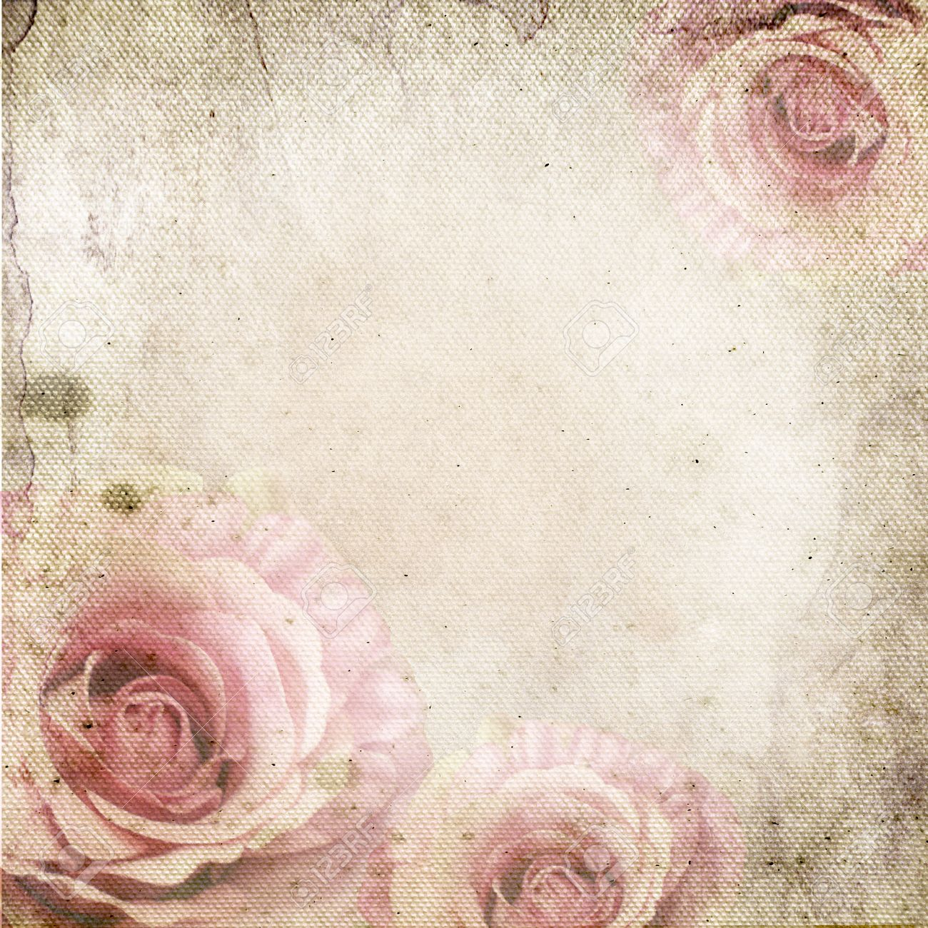Vintage Background With Roses Over Retro Paper Stock Photo 1300x1300