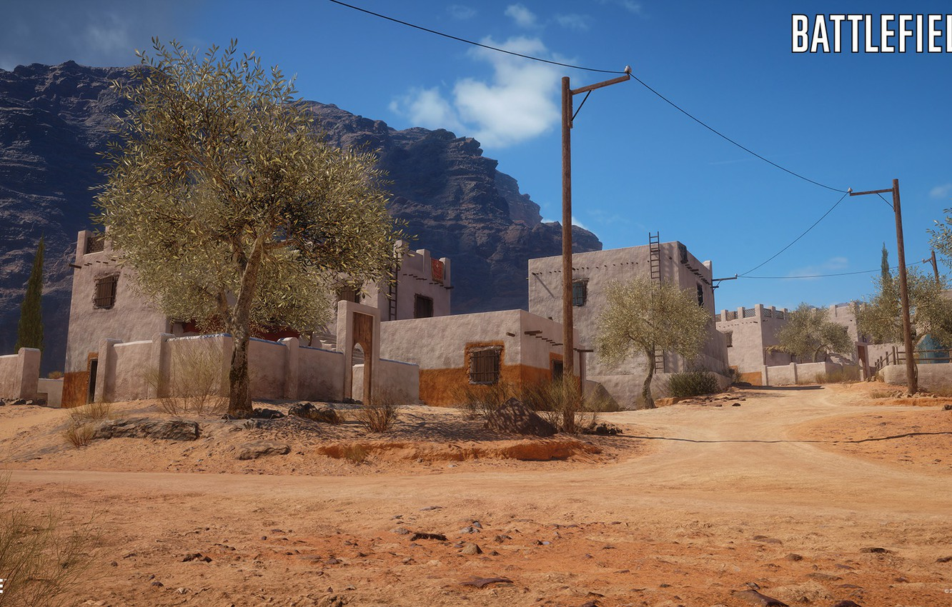 Wallpaper rocks home settlement Battlefield 1 Sinai Desert 1332x850