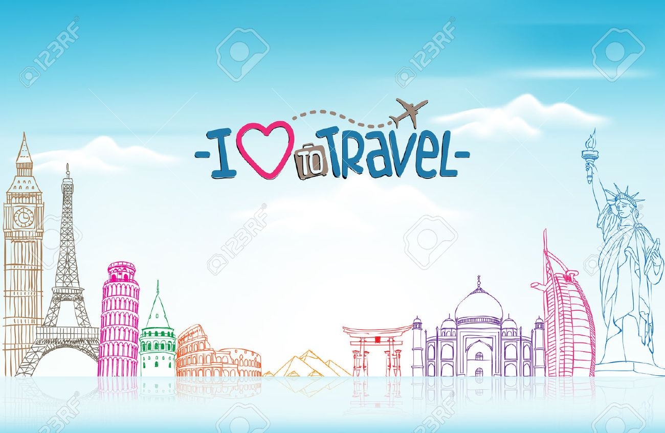 Travel And Tourism Background With Famous World Landmarks In 1300x847