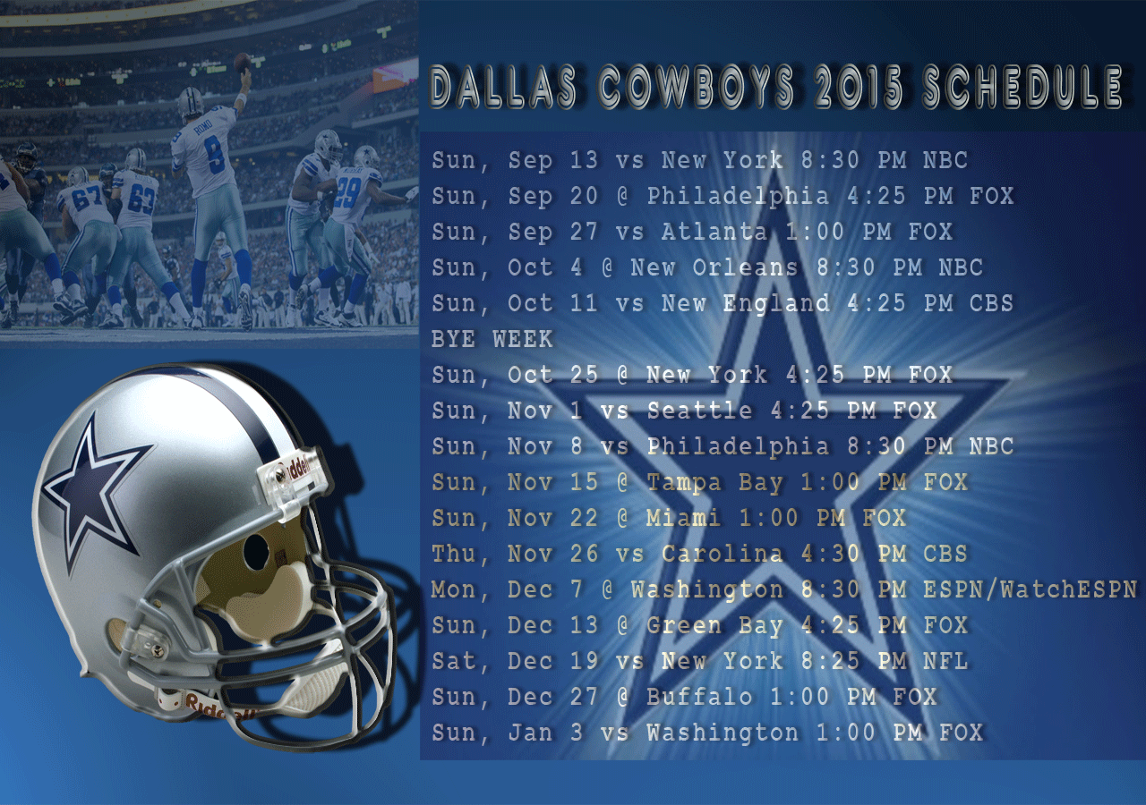 Dallas Cowboys 2015 Wallpaper Background Schedule Desktop 1280x900