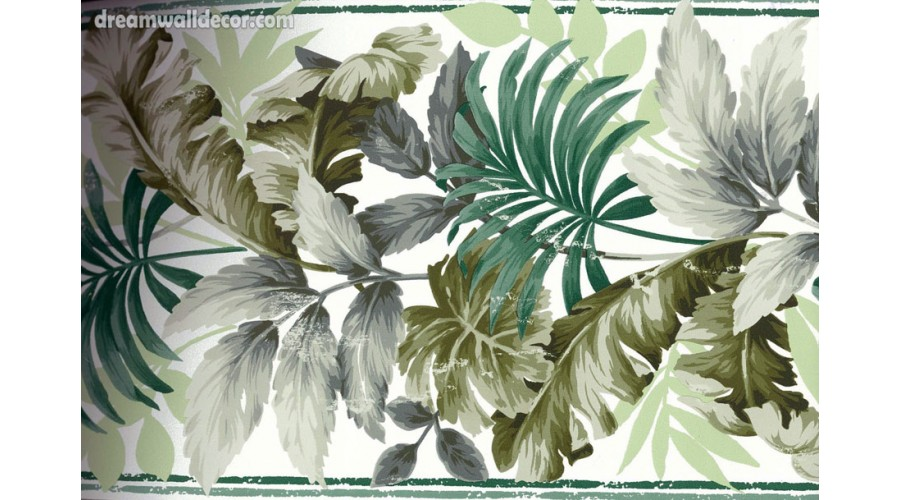 Home Green Tropical Leaves Wallpaper Border 900x500