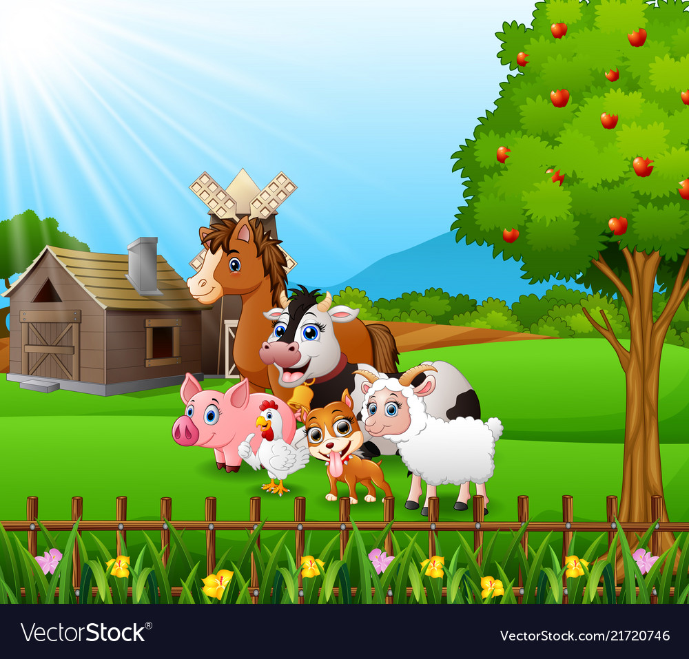 Farm background with happy animals Royalty Vector Image 1000x957