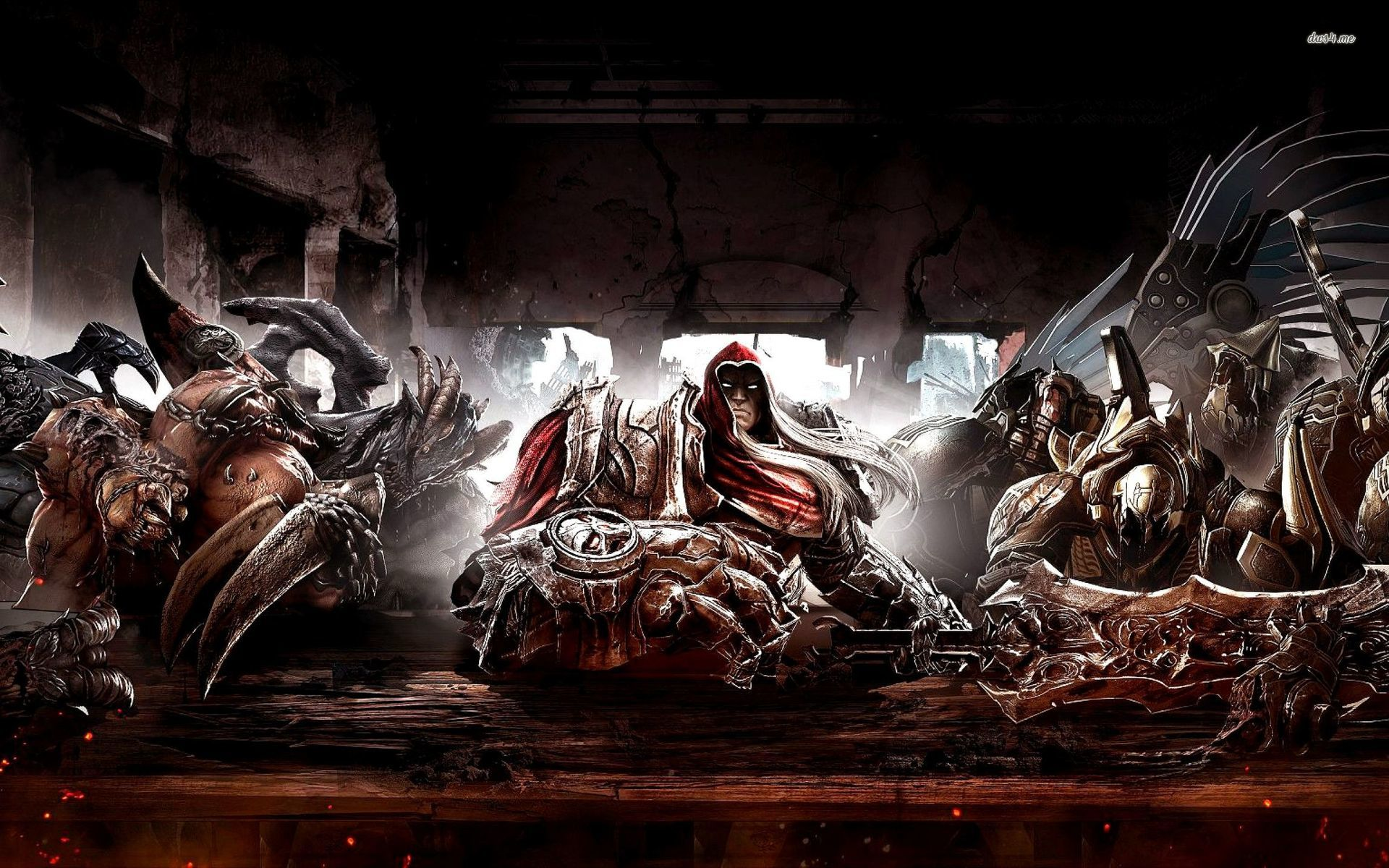Four Horsemen at the table in Darksiders wallpaper   Game wallpapers 1920x1200