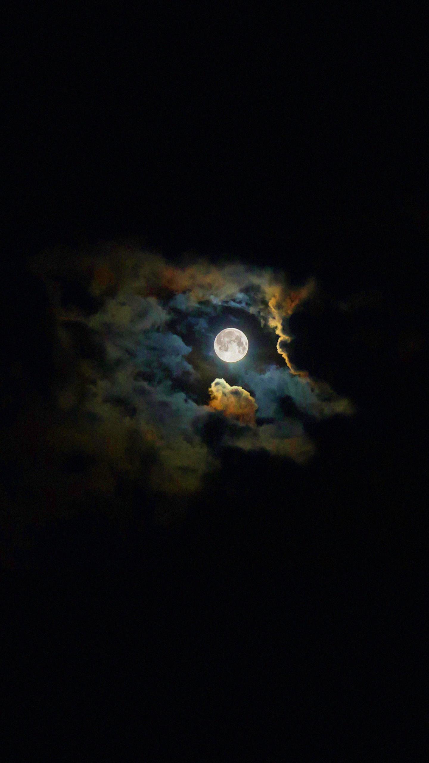Landscape moon shiny black wallpapersc SmartPhone 1440x2560