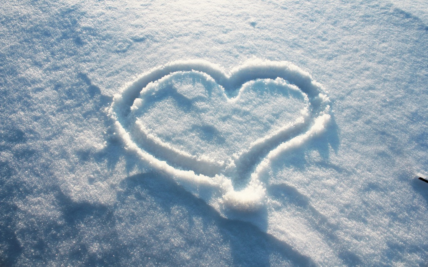 Download Heart On Snow Wallpapers For Desktop Back To Main 1366x854