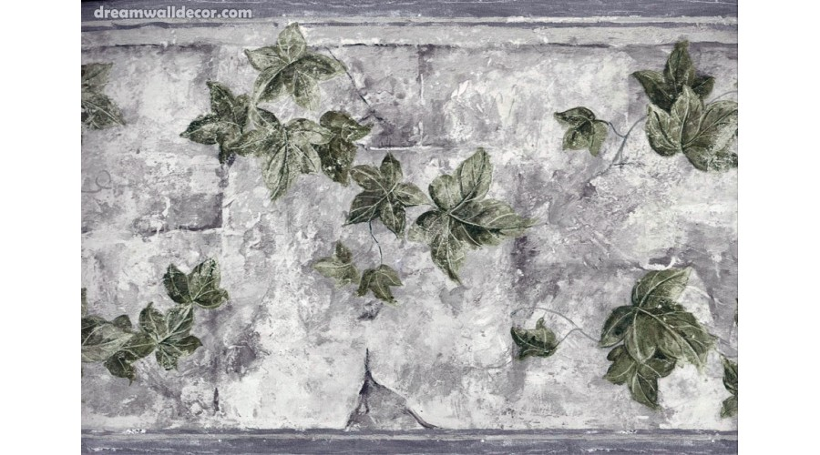 Home White Tiles Gardened Leaves Wallpaper Border 900x500