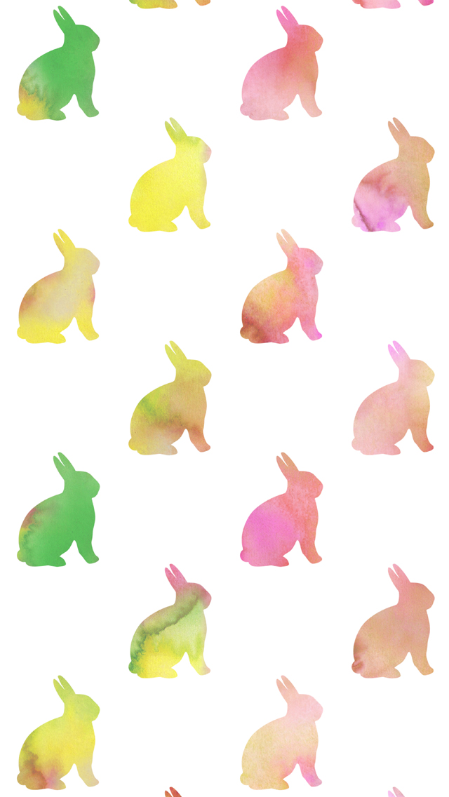 Pastel Watercolor Easter Bunny iPhone Wallpaper   Silver Spiral Studio 640x1136