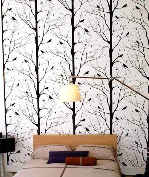 Blackbird Wallpaper in White design by Cavern Home BURKE DECOR 500x594