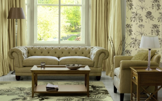 Cream living room with vintage looking floral wallpaper living room 665x415
