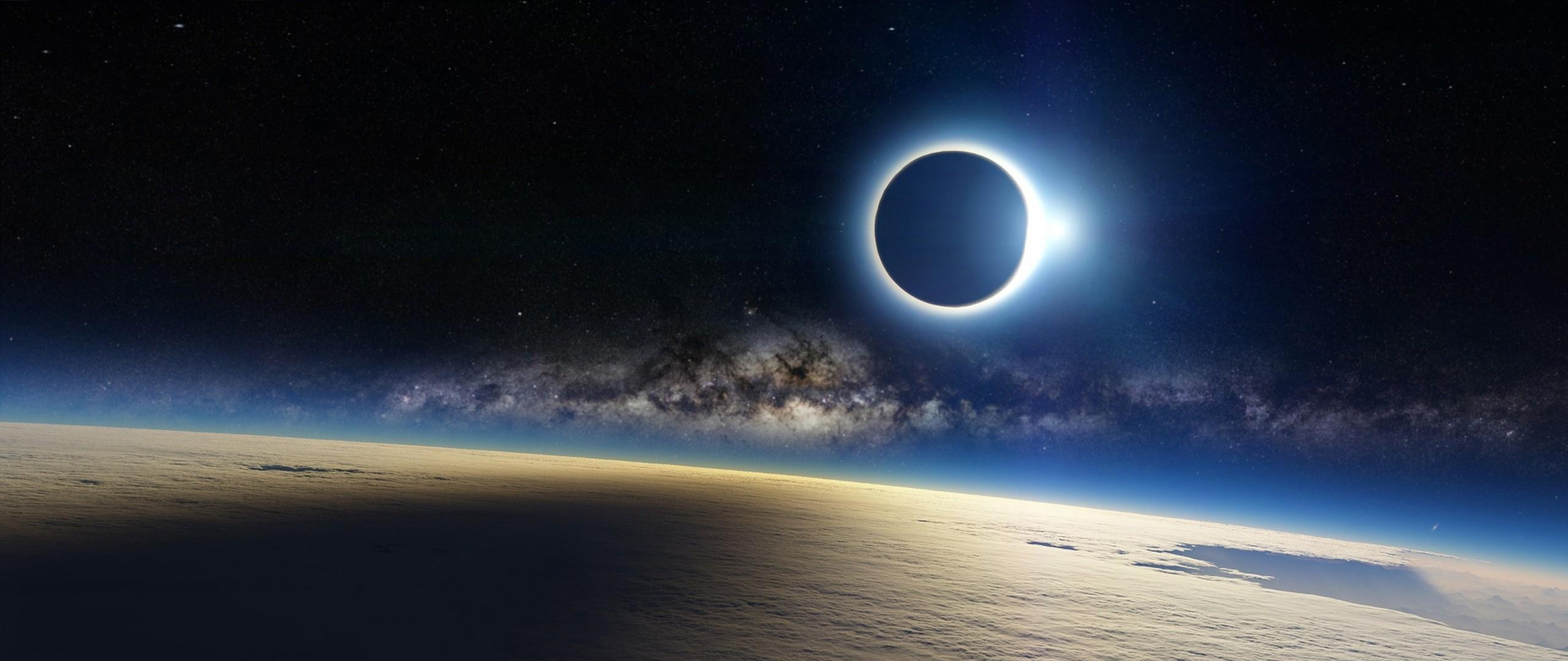 Wallpaper 2560x1080 clouds milky way eclipse light 2560x1080 2560x1080