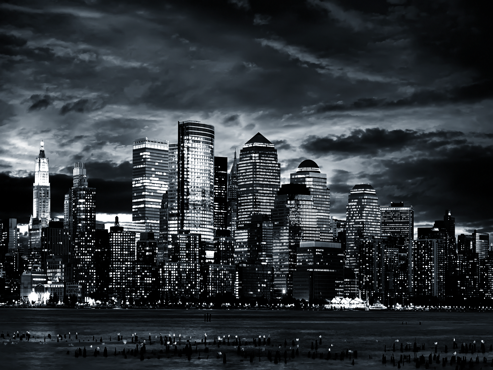 Black and White City by the Sea wallpaper II Some Days 1600x1200