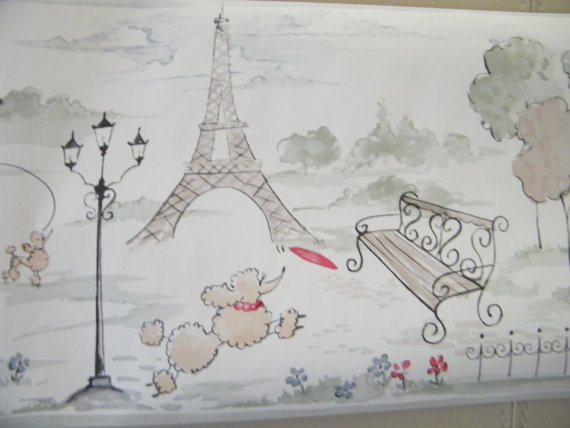 Shabby Chic Poodles in Paris Wallpaper by SimplyAmazingShoppe 570x428