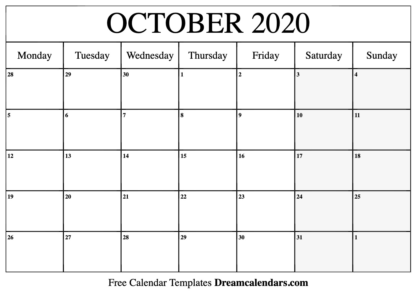 October 2020 Printable Calendar Dream Calendars 1406x1020