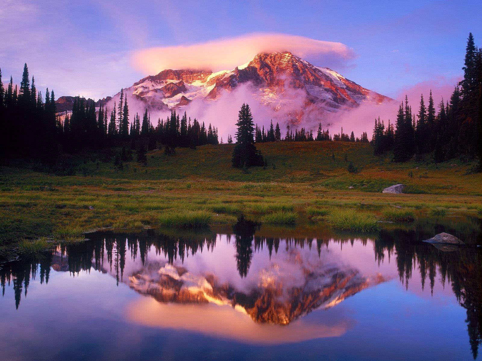 view beautiful mountain reflection desktop quality nature scenery 1600x1200
