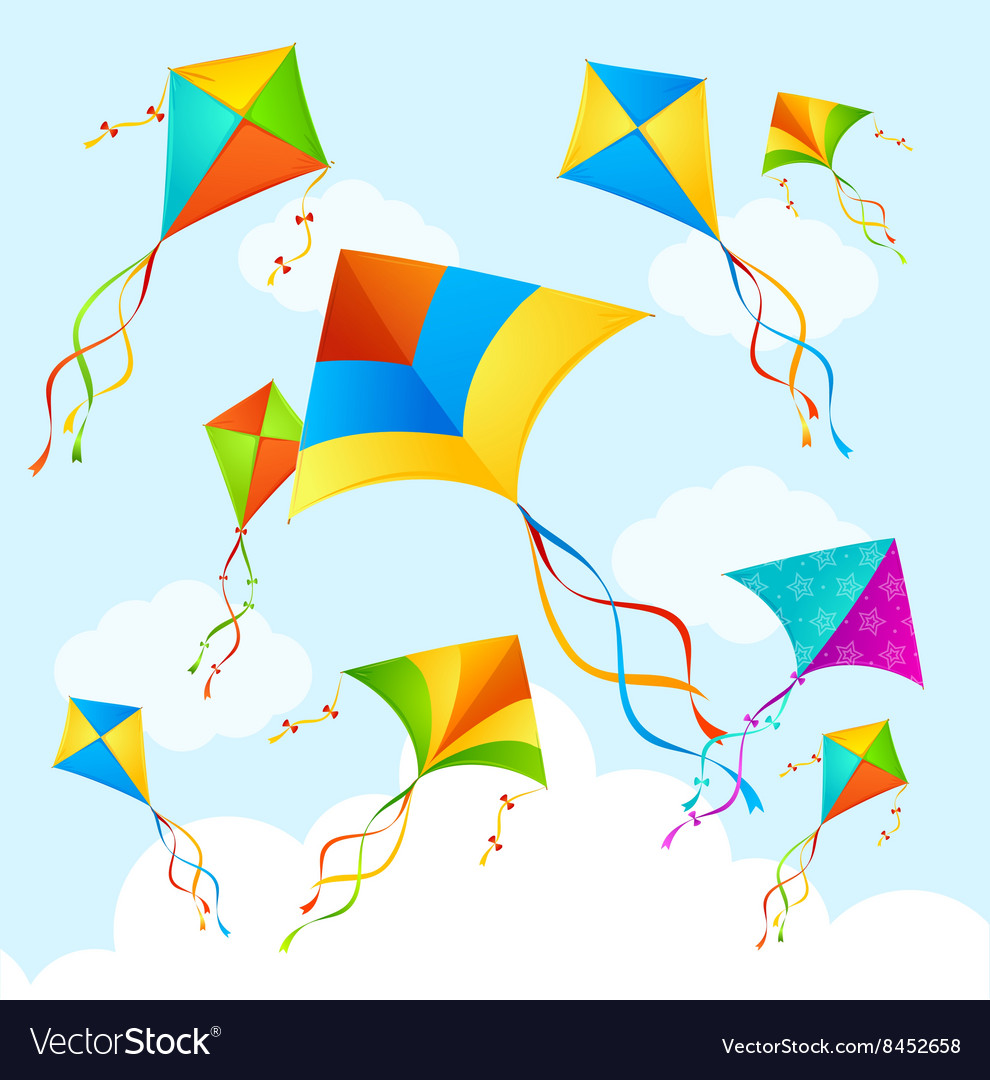Colorful Kite Background Royalty Vector Image 990x1080